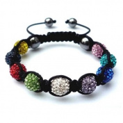 Shamballa Bracelet Multi Coloured Disco Ball Friendship Bead Unisex Bracelets. Crystal Beads