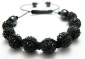 Shamballa Bracelet Black Disco Ball Friendship Bead Unisex Bracelets. Crystal Beads