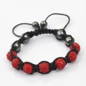 Shamballa Bracelet Red Disco Ball Friendship Bead Unisex Bracelets. Crystal Beads