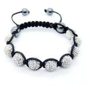 Shamballa Bracelet Silver Disco Ball Friendship Bead Unisex Bracelets. Crystal Beads