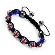 Shamballa Bracelet Union Jack Support Team GB Disco Ball Friendship Bead Unisex Bracelets. Crystal Beads