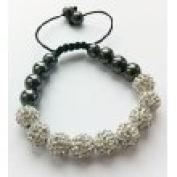 Shamballa Bracelet Full Silver (No Strings) Disco Ball Friendship Bead Unisex Bracelets. Crystal Beads