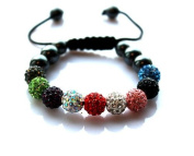 Shamballa Bracelet Multi Coloured (No Strings) Disco Ball Friendship Bead Unisex Bracelets. Crystal Beads