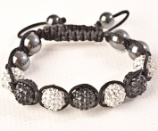 Shamballa Bracelet White & Black Disco Ball Friendship Bead Unisex Bracelets. Crystal Beads