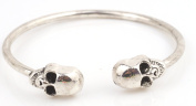Two Headed Skull Bangle Bracelet Metal Bendable Gothic Cuff-silver