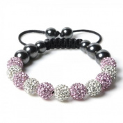 Shamballa Bracelet WHITE & PINK (NO STRINGS) Disco Ball Friendship Bead Unisex Bracelets. Crystal Beads