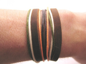 Unisex mens womens urban surfer Black Brown leather and coloured cord bracelet