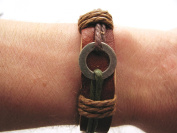 Unisex mens womens urban surfer Brown leather and Green cord bracelet