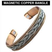 New Ladies Copper Rhodium Magnetic Bangle Bracelet Uk