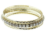 Stackable 7 Piece Crystal Stone Bangle Black