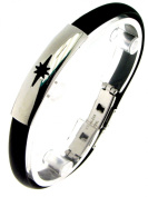 Bracelet steel and rubber with graphic symbols