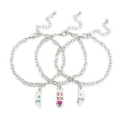 3 Part bestfriends bracelet, perfect for your 3 best pals includes 3 free gift bags to keep your jewellery safe