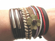 Mens or Womens multi stacking hemp unisex urban surfer Brown leather Brown bead cord friendship bracelet