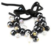 Black Clustered Bead and Ribbon Bracelet