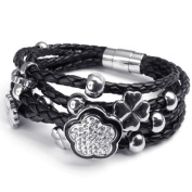 Konov Jewellery Women's Flower Charms Braided Leather Bracelet, Bangle, Colour Silver Black