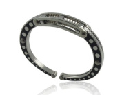Stainless Steel Mens Bangle with Oxidise Sides has got a Spring to Fit all Hands