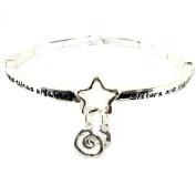 Gift of Sisters Are Like Stars Serenity Prayer Infinity Circle Bangle Bracelet