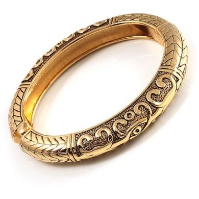 Antique Gold Vintage Hinged Bangle Bracelet