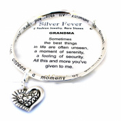 Holiday Birthday Gift for Grandma Grandmother's Heart Charm Silver Bangle GRANDMA Poem Bracelet Holiday Gift
