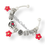Silver Tone Enamel Red Flower Red Crystal Stone Charm Bangle / Bracelet