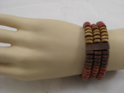 Goethnic Handmade Wooden Bangle Bracelet With Multi-Colour Wooden Beads Three Stranded Elasticised String