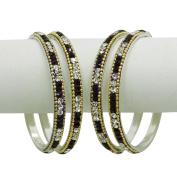Indian Silver Tone Purple CZ Kundan Bangle Bracelet Bridal Wear Kangan Jewellery Wedding Party Wear Churi Jewellery Gift SIZE 2*6
