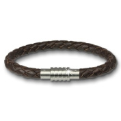 Amello Megabeads leather bracelet brown 22cm with Stainless Steel shutter for Stainless Steel Beads AMA474N22