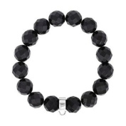 BLACK ONYX Faceted 10mm Bead Stretch Bracelet with Sterling Silver Charm Carrier for Clip-On Charms - Thomas Sabo Style Charm Bracelet - 7 to 7.5 inches - 16 x 10mm Onyx Beads
