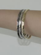 Rhodium Plated Smooth & shiny Textured Bangle Set - 3 Pcs (Set includes rhodium-plated silver colour , blackened silver colour , yellow gold colour).