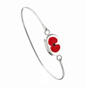Silver Bangle made with real flowers - Poppy - Oval - includes giftbox