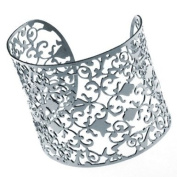 Stainless Steel Bangle 'Fiore', fine floral vine pattern