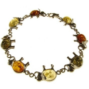 """8"""" inch/20cm baltic amber and sterling silver 925 ladies' designer multi-coloured elephant bracelet jewellery jewellery"""