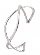 Silver Wide Cross Over Bangle