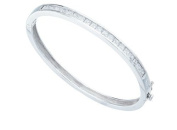 Elements Sterling Silver Ladies' B224C Clear Square Cubic Zirconia Channel Set Bangle