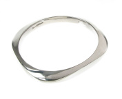 Sterling Silver Round Square Bangle
