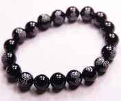 12mm Black Agate Fo Lotus Beads Bracelet