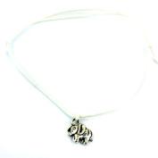 Hippy Antique Silver Lucky Elephant Friendship Karma Wish Love Peace Bracelet Cord Boho[WHITE]