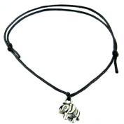 Hippy Antique Silver Lucky Elephant Friendship Karma Wish Love Peace Bracelet Cord Boho[BLACK]