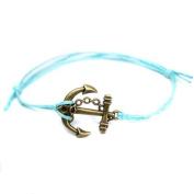 Hippy Antique Bronze Anchor Friendship Karma Wish Hope Love Peace Bracelet Cord Boho UK[TURQUOISE]