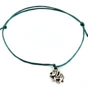 Hippy Antique Silver Lucky Elephant Friendship Karma Wish Love Peace Bracelet Cord Boho[GREEN]