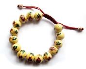 Ovalbuy 12mm Porcelain Flower Beads Wrist Mala Bracelet for Meditation