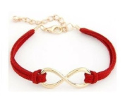 Infinity Sign Antique Gold Red Bracelet with Faux Leather Cord Infini