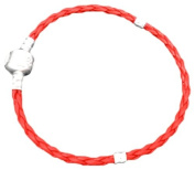 Charming Bead Store Top-Quality Red Leatheroid Charm Bracelet With Plain Snap-Lock Clasp 18CM