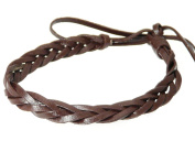Neptune Giftware Real Leather Plaited Wristband Bracelet - Dark Brown