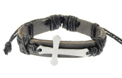 Neptune Giftware Leather Strap & Cord Bracelet with Metal Cross / Crucifix - 232