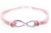 Infinity Sign Antique Sliver Pink Rose Bracelet with Faux Leather Cord Infini