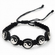 Black/White 'Yin Yang' Cotton Wristband - Adjustable