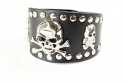 Punk Gothic Biker Crossbone Skull Faux Black Leather Wide Bracelet Wristband