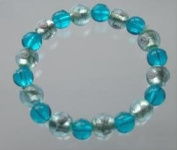 Hand Made Blue and Silver Foil Glass Beads - Stretchable Bracelet - 75cm