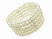 Glitz4Girlz 5 Row Stretch Pearl Bead Cuff Bracelet
